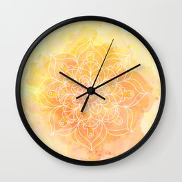 Watercolor Mandala // Sunny Floral Mandala Wall Clock
