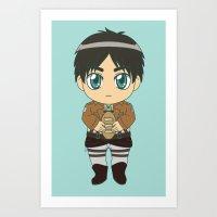 shingeki no kyojin Art Prints featuring Shingeki no Kyojin - Chibi Eren Flats by Tenki Incorporated