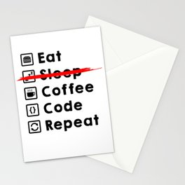 Eat Coffee Code Repeat Stationery Cards