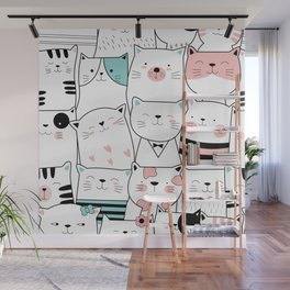 Hipster Cats Wall Mural