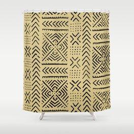 Line Mud Cloth // Tan Shower Curtain