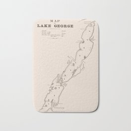 1853 Map of Lake George (sepia) Bath Mat