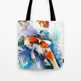 Koi Fish in the Pond - Zen Watercolor Tote Bag