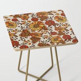 Retro 70s boho hippie orange flower power Side Table