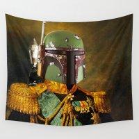 boba fett Wall Tapestries featuring Portrait of Boba Fett by kamonkey