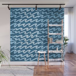 Abstract Waves - Blue Raspberry Shimmer on Saltwater Taffy Teal Wall Mural