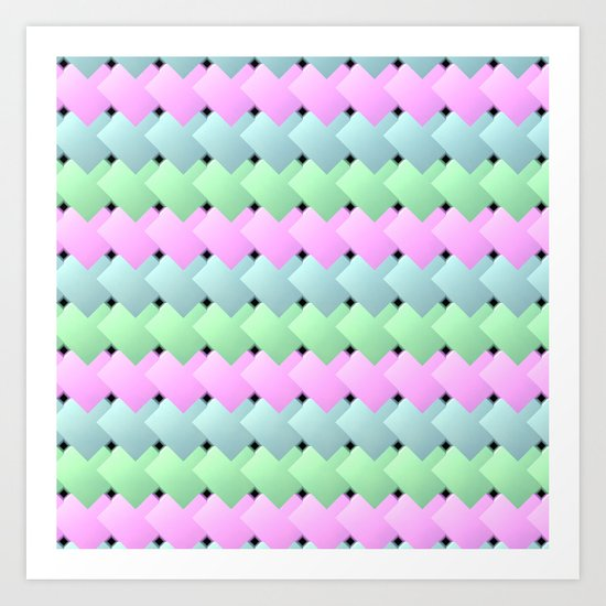 Overlapping Diagonal Square Pattern Art Print