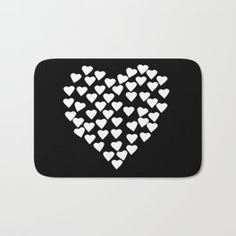 Hearts on Heart White on Black Bath Mat