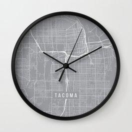 Tacoma Map, Washington USA - Pewter Wall Clock