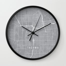 Tacoma Map, Washington USA - Pewter Wall Clock