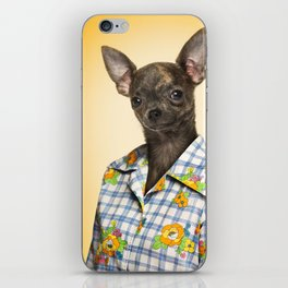 Chihuahua wearing a floral shirt iPhone Skin
