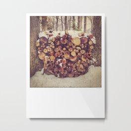 Winter Wood Pile Photography Metal Print