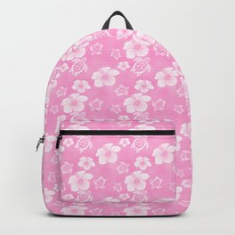 Soft Pink Hibiscus Turtle Hawaiian Pattern Backpack