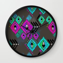 Abstract ethnic tribal pattern on a brown background. Wall Clock