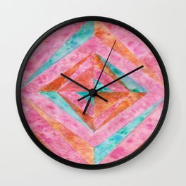 """Ruby Rust"" - Geometric Watercolor Painting Wall Clock"