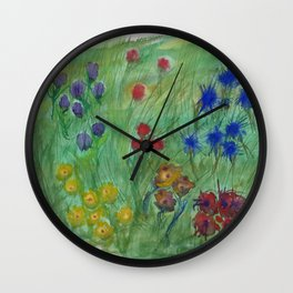 Dream of a flower fields Wall Clock