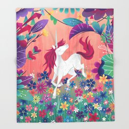Floral Frolic Unicorn Throw Blanket