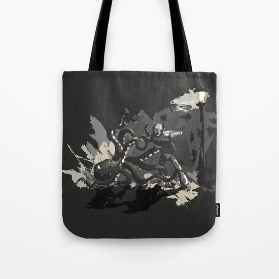 Octopus Wrestling with a Robot Tote Bag