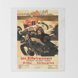 Nurburgring Race, vintage poster Throw Blanket