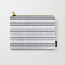 Pantone Lilac Gray & White Thick and Thin Horizontal Lines Bold Stripe Pattern Carry-All Pouch