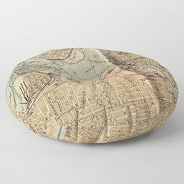 Vintage Map of Ottawa Canada (1894) Floor Pillow