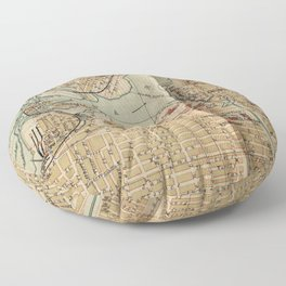 Vintage Map of Ottawa Canada (1894) Floor Pillow