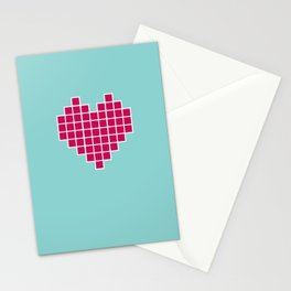 Pixelated Heart Stationery Cards