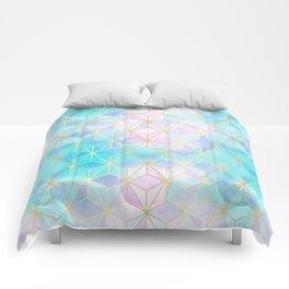 Iridescent Glass Geometric Pattern Comforters