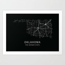 Oklahoma State Road Map Art Print