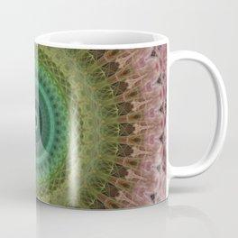 Mandala with light and dark green and red Coffee Mug