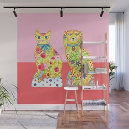 Boho Floral Cat and Dog Figurines Wall Mural
