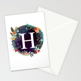 Personalized Monogram Initial Letter H Floral Wreath Artwork Stationery Cards