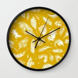 Golden beach palm set pattern Wall Clock