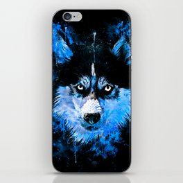 husky dog face splatter watercolor blue iPhone Skin