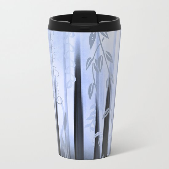 Blue Forest Abstract Metal Travel Mug