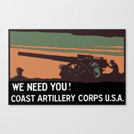 We need you! Coast Artillery Corps USA Canvas Print