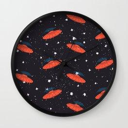 Hand drawn pattern UFO. Among the stars Wall Clock