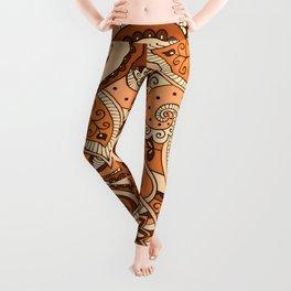 African Pattern No22 Brown Leggings