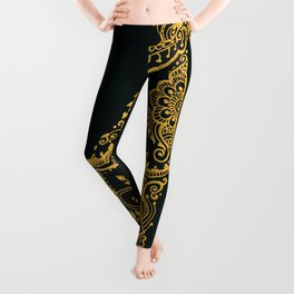 Cat and Moon - gold Leggings