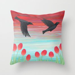 crows, tulips, & snails Throw Pillow