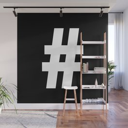 Hash Sign (White & Black) Wall Mural