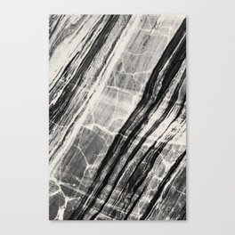Abstract Marble - Black & Cream Canvas Print