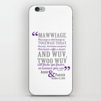 princess bride iPhone & iPod Skins featuring custom listing for Wedding Date and names Princess Bride by studiomarshallarts