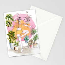 Yoga and Plants Stationery Cards