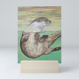 Playful River Otter Painting Mini Art Print