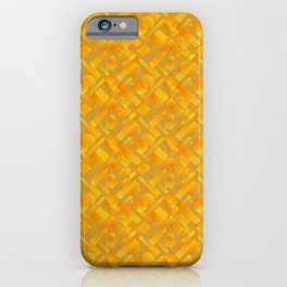 Stylish design with interlaced circles and yellow rectangles of stripes. iPhone Case