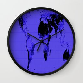 World Map: Gall Peters Indigo Purple Wall Clock