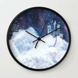 castle in the galaxy painting Wall Clock