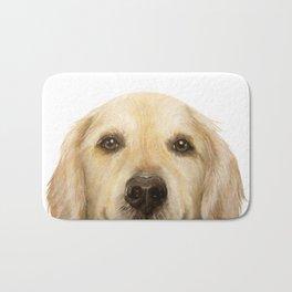 Golden retriever Dog illustration original painting print Bath Mat