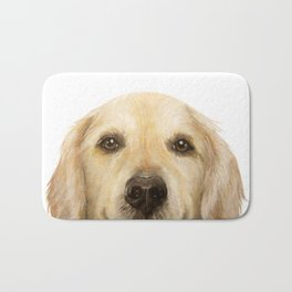 Golden retriever Dog illustration original painting print Bath Mat